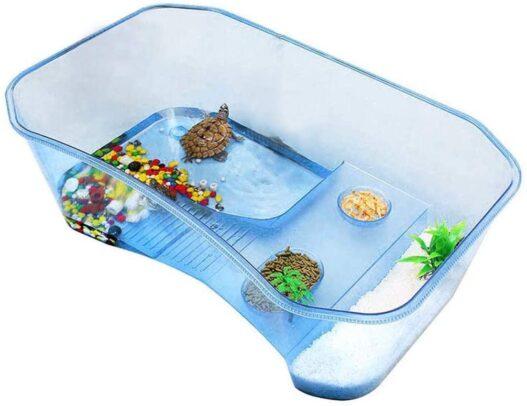 Reptile Habitat,Turtle Habitat Terrapin Lake Reptile Aquarium Tank with Platform Plants (Blue)(Excluding Accessories