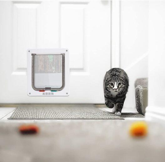 "Depets Large Cat Door (Outer Size 9.9"" x 9.2""), 4 Way Locking Cat Flap Door for Interior Exterior Doors, Weatherproof Pet Doors for Cats & Doggie with Circumference < 23"", Suitable for Window & Wall"