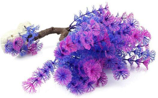 Aquarium Plant Plastic Fish Tank Plant Decorative Artificial Underwater Grass, Blue Purple