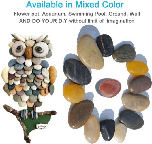 SACKORANGE 2 LB Aquarium Gravel River Rock - Natural Polished Decorative Gravel, Small Decorative Pebbles, Mixed Color Stones,for Aquariums, Landscaping, Vase Fillers (32-Oz)