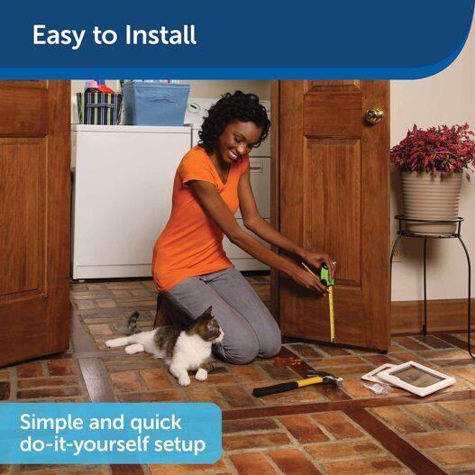 PetSafe Interior Cat Doors - 2-Way or 4-Way Locking Door - Cat Corridor Door Tunnel - Privacy for Litter Box - Easy to Install